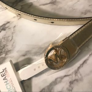 NWT MK Michael Kors Gold Leather Belt size Small